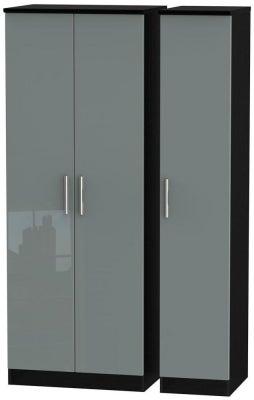 Knightsbridge 3 Door Tall Wardrobe - High Gloss Grey and Black