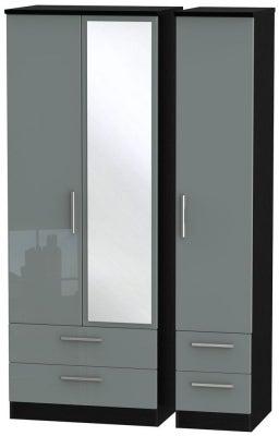 Knightsbridge 3 Door 4 Drawer Tall Combi Wardrobe - High Gloss Grey and Black