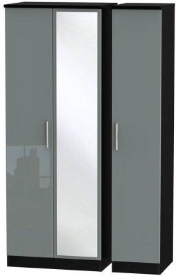 Knightsbridge 3 Door Tall Mirror Wardrobe - High Gloss Grey and Black