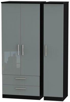 Knightsbridge 3 Door 2 Left Drawer Wardrobe - High Gloss Grey and Black