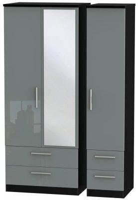 Knightsbridge 3 Door 4 Drawer Combi Wardrobe - High Gloss Grey and Black