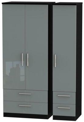 Knightsbridge 3 Door 4 Drawer Wardrobe - High Gloss Grey and Black