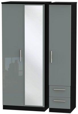 Knightsbridge 3 Door 2 Right Drawer Combi Wardrobe - High Gloss Grey and Black