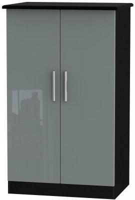 Knightsbridge 2 Door Midi Wardrobe - High Gloss Grey and Black