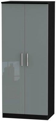 Knightsbridge 2 Door Wardrobe - High Gloss Grey and Black