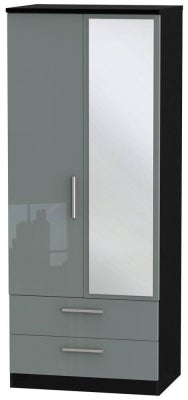 Knightsbridge 2 Door Combi Wardrobe - High Gloss Grey and Black