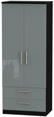 Knightsbridge 2 Door 2 Drawer Wardrobe - High Gloss Grey and Black