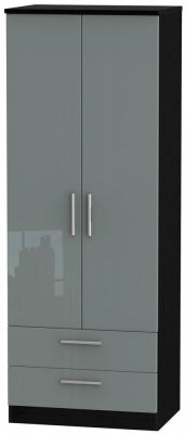 Knightsbridge 2 Door 2 Drawer Tall Wardrobe - High Gloss Grey and Black