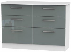 Knightsbridge 6 Drawer Midi Chest - High Gloss Grey and White