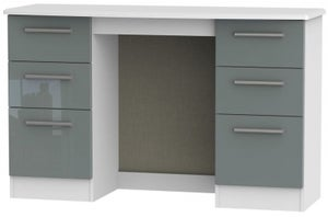 Knightsbridge Double Pedestal Dressing Table - High Gloss Grey and White