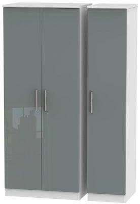 Knightsbridge 3 Door Wardrobe - High Gloss Grey and White
