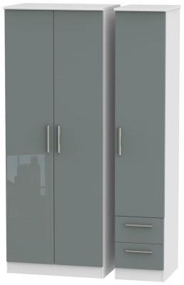 Knightsbridge 3 Door 2 Right Drawer Tall Wardrobe - High Gloss Grey and White