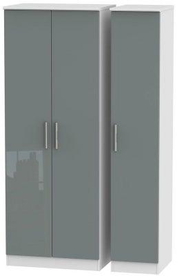 Knightsbridge 3 Door Tall Wardrobe - High Gloss Grey and White
