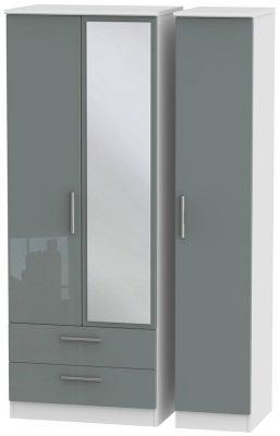 Knightsbridge 3 Door 2 Left Drawer Tall Combi Wardrobe - High Gloss Grey and White