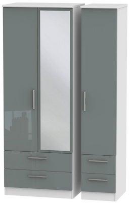Knightsbridge 3 Door 4 Drawer Tall Combi Wardrobe - High Gloss Grey and White