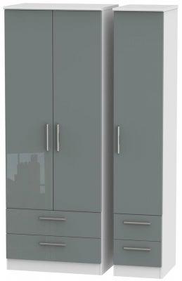 Knightsbridge 3 Door 4 Drawer Tall Wardrobe - High Gloss Grey and White