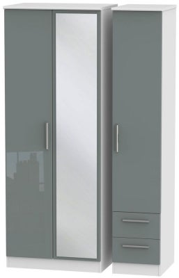 Knightsbridge 3 Door 2 Right Drawer Tall Combi Wardrobe - High Gloss Grey and White