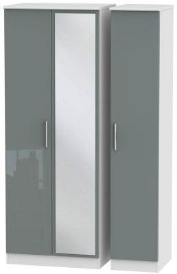 Knightsbridge 3 Door Tall Mirror Wardrobe - High Gloss Grey and White