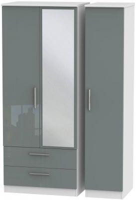 Knightsbridge 3 Door 2 Left Drawer Combi Wardrobe - High Gloss Grey and White