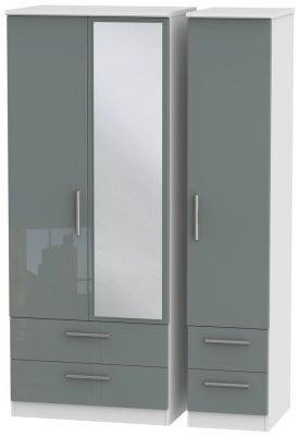 Knightsbridge 3 Door 4 Drawer Combi Wardrobe - High Gloss Grey and White