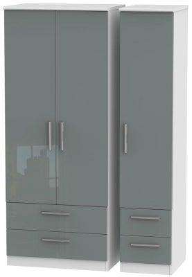 Knightsbridge 3 Door 4 Drawer Wardrobe - High Gloss Grey and White