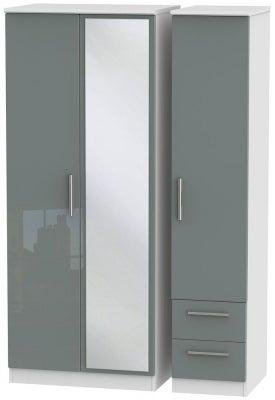 Knightsbridge 3 Door 2 Right Drawer Combi Wardrobe - High Gloss Grey and White