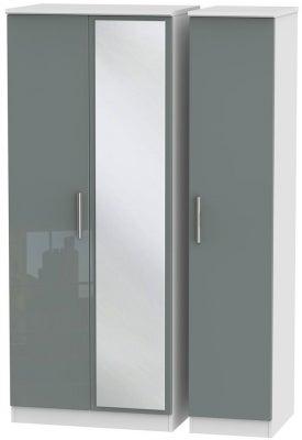 Knightsbridge 3 Door Mirror Wardrobe - High Gloss Grey and White