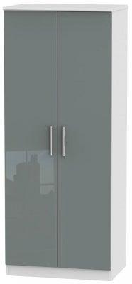 Knightsbridge 2 Door Wardrobe - High Gloss Grey and White