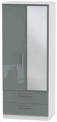 Knightsbridge 2 Door Combi Wardrobe - High Gloss Grey and White