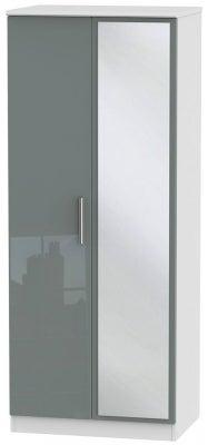 Knightsbridge 2 Door Mirror Wardrobe - High Gloss Grey and White