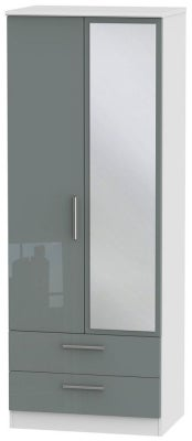 Knightsbridge 2 Door Tall Combi Wardrobe - High Gloss Grey and White