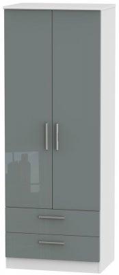 Knightsbridge 2 Door 2 Drawer Tall Wardrobe - High Gloss Grey and White