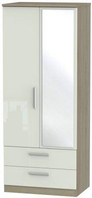 Knightsbridge 2 Door Combi Wardrobe - High Gloss Kaschmir and Darkolino