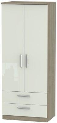 Knightsbridge 2 Door 2 Drawer Wardrobe - High Gloss Kaschmir and Darkolino