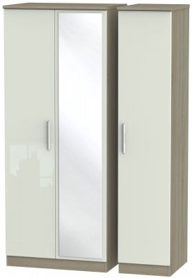 Knightsbridge 3 Door Mirror Wardrobe - High Gloss Kaschmir and Darkolino