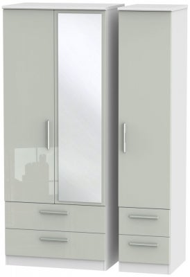 Knightsbridge 3 Door 4 Drawer Combi Wardrobe - High Gloss Kaschmir and White