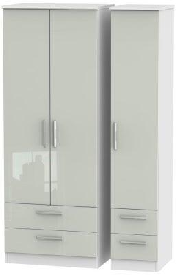 Knightsbridge 3 Door 4 Drawer Tall Wardrobe - High Gloss Kaschmir and White