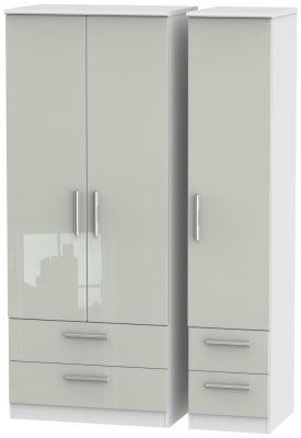 Knightsbridge 3 Door 4 Drawer Wardrobe - High Gloss Kaschmir and White