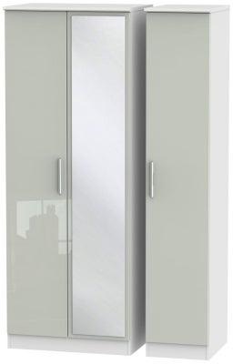 Knightsbridge 3 Door Tall Mirror Wardrobe - High Gloss Kaschmir and White