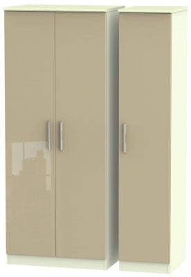 Knightsbridge 3 Door Wardrobe - High Gloss Mushroom and Cream