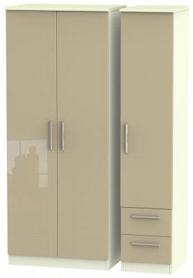 Knightsbridge 3 Door 2 Right Drawer Wardrobe - High Gloss Mushroom and Cream