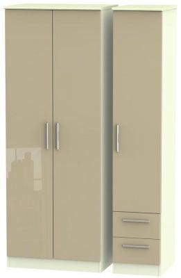 Knightsbridge 3 Door 2 Right Drawer Tall Wardrobe - High Gloss Mushroom and Cream