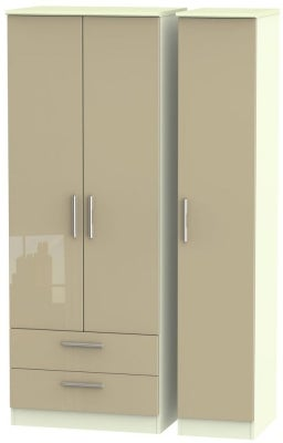 Knightsbridge 3 Door 2 Left Drawer Tall Wardrobe - High Gloss Mushroom and Cream