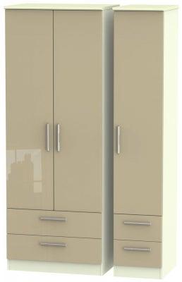 Knightsbridge 3 Door 4 Drawer Tall Wardrobe - High Gloss Mushroom and Cream