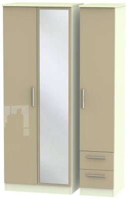 Knightsbridge 3 Door 2 Right Drawer Tall Combi Wardrobe - High Gloss Mushroom and Cream