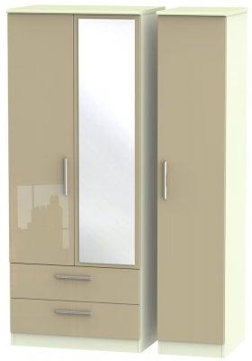Knightsbridge 3 Door 2 Left Drawer Combi Wardrobe - High Gloss Mushroom and Cream