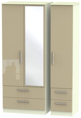 Knightsbridge 3 Door 4 Drawer Combi Wardrobe - High Gloss Mushroom and Cream