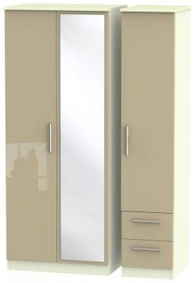 Knightsbridge 3 Door 2 Right Drawer Combi Wardrobe - High Gloss Mushroom and Cream