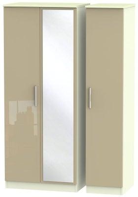 Knightsbridge 3 Door Mirror Wardrobe - High Gloss Mushroom and Cream