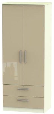 Knightsbridge 2 Door 2 Drawer Wardrobe - High Gloss Mushroom and Cream